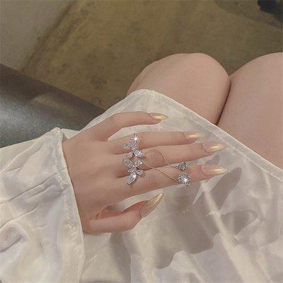 Lan韓國專櫃·仙氣蝴蝶開口戒指女ins潮夸張花朵食指指環氣質網紅立體小眾設計