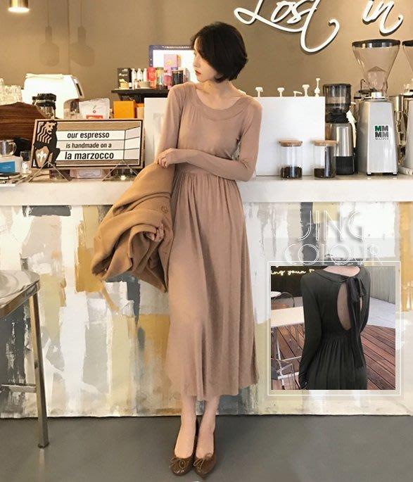 預/實拍【JinG】大露背長版圓領洋裝 後綁帶蝴蝶結針織衣 長裙 素面素T 長袖單穿上衣 傘裙