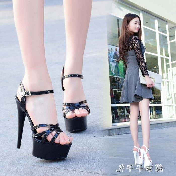 模特高跟鞋細跟性感黑色防水臺15cm恨天高超高跟涼鞋女夏