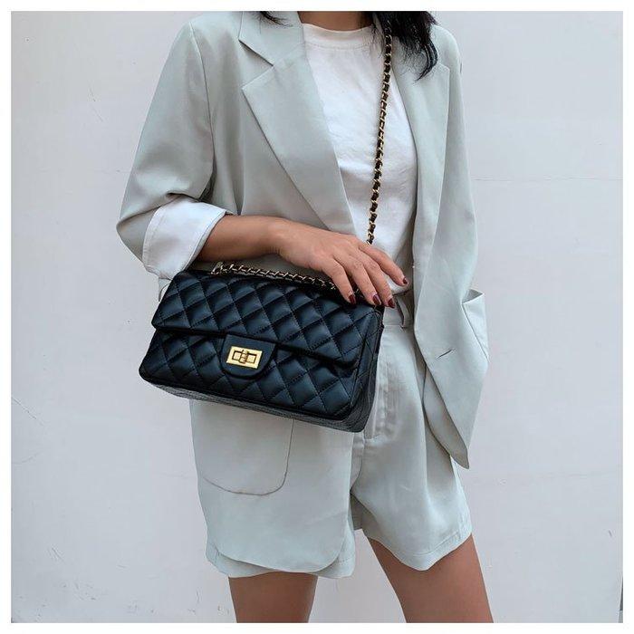 FINDSENSE X 韓國 女士 時尚 菱格紋 皮革 小方包 單肩包 兩種尺寸