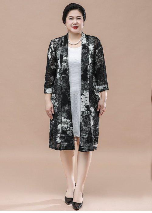 5D270 黑色中長款薄針織衫均碼55-100公斤秋冬婆婆裝媽媽裝風衣女裝外套大尺碼大碼超大尺碼