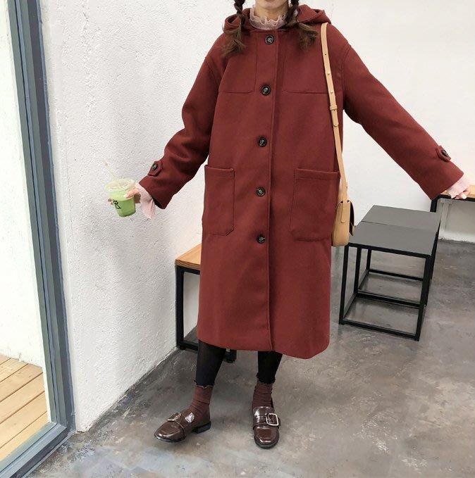 SeyeS street雜誌街頭個性復古羊毛呢連帽大衣外套