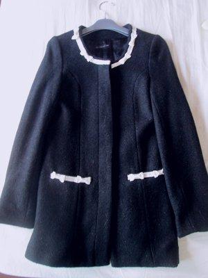 日本高單價Willselection黑色蝴蝶結緞帶apuweiser riche SLY INED款長版外套S號