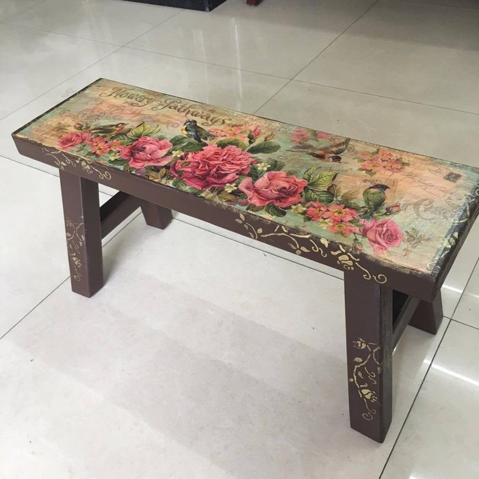 精品 |蝶谷巴特原木椅-古典玫瑰(板凳/客廳椅/矮椅/矮凳)
