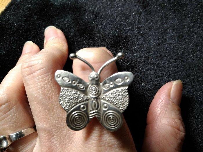 手工銀飾925 戒指可調整尺寸蝴蝶造型~