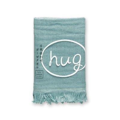 [偶拾小巷] 日本製 HUG純棉四層紗布手巾毛巾 - 水藍色