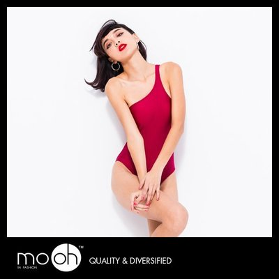 歐美視覺系 比基尼連身泳衣 性感 單肩 三角 時尚 mo.oh 歐美