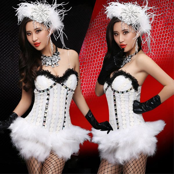 5Cgo【鴿樓】會員有優惠 40101822241夜店酒吧DS領舞服演出服套裝表演服白色羽毛連體衣PUB現代舞衣