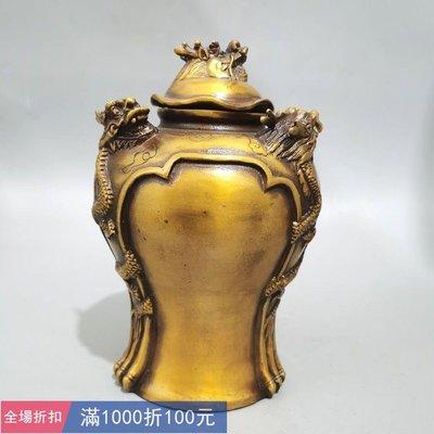純銅龍頭罐三龍儲物罐 茶葉罐家居工藝品擺 古玩 古董 仿古擺件件古玩辦公室裝飾品