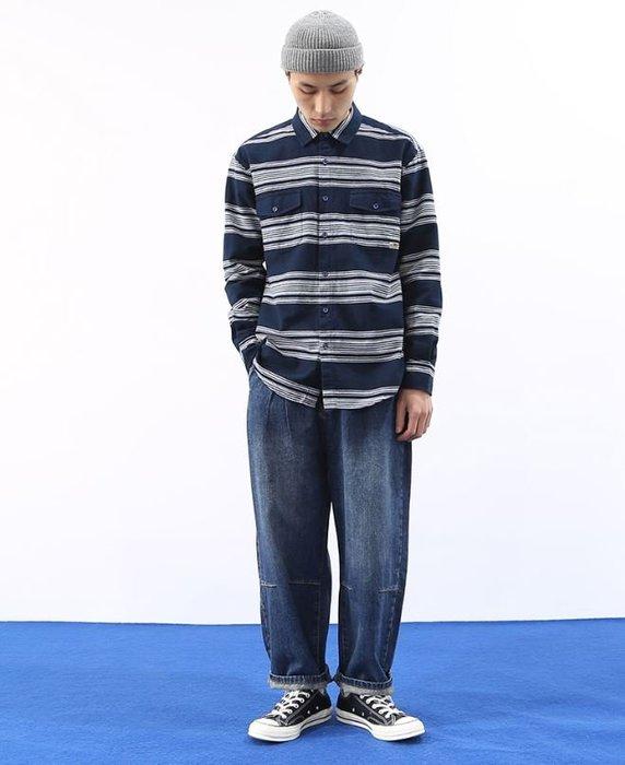 【NoComment】日系原宿 街頭復古潮流 橫條磨毛棉長袖襯衫 Uniqlo Nike