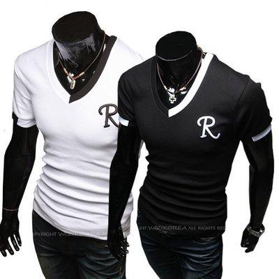 男士打底衫拼色領口設計男士 V領 短袖T恤R字母刺繡T恤黑