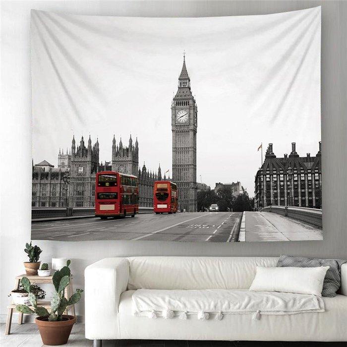 (送無痕釘+燈)個性背景布 倫敦大笨鐘 巴黎鐵塔 舊金山大橋 房間裝飾 黑白攝影 直播背景布 掛毯 │悠飾生活│