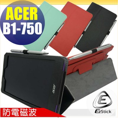 【EZstick】ACER Iconia One B1-750 防電磁波皮套(背夾旋轉款式)+鏡面防汙螢幕貼