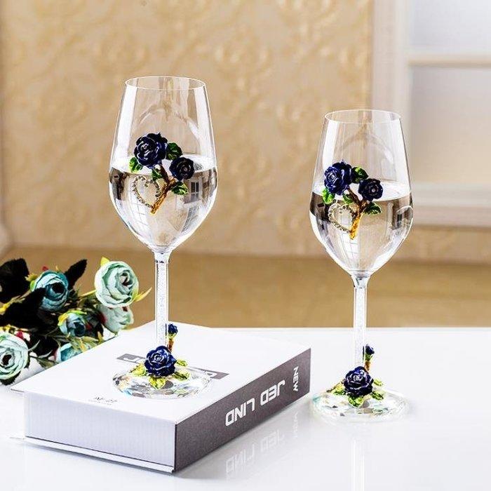 創意無鉛水晶玻璃紅酒杯高腳杯套裝家用2個一對歐式奢華結婚禮物