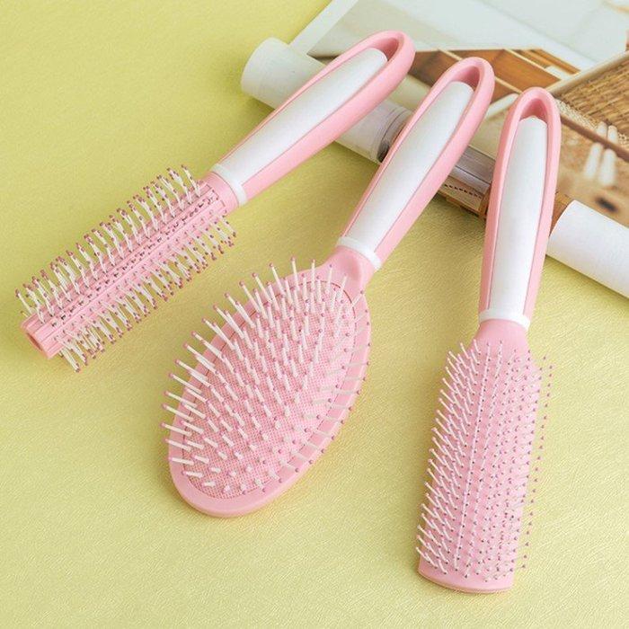 梳子套裝組粉紅塑膠髮梳圓筒滾梳美髮造型梳氣囊氣墊梳(3件1組)_☆優購好SoGood☆