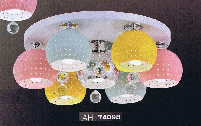 【昶玖照明LED】吸頂燈系列 E27 LED 居家臥室 客廳陽台 書房玄關餐廳 鐵材烤漆 水晶 6燈 AH-74098