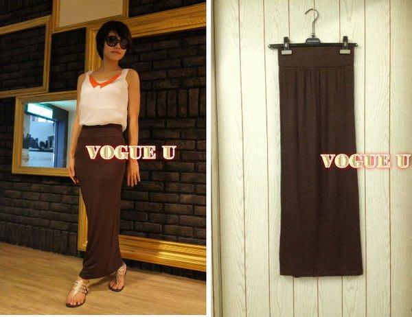 ☆VOGUE U☆瑞典H&M~讓您下半身如美人魚般的 窄裙 長裙~咖啡~(特價) 【S0017H】