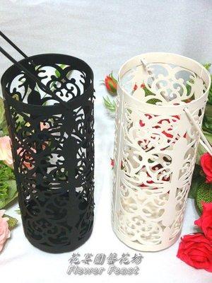 【花宴】*1049-2吊掛簍空花紋燭臺(黑)*花器~燭台~婚禮佈置~居家擺設~餐廳~聖誕會場