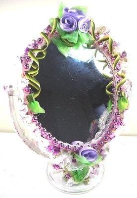 心意婚品店 ♡ 蝴蝶花園鏡子 ♡ 婚品小物 裝飾品 圓桌鏡 化妝鏡
