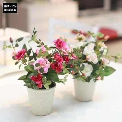 INPHIC-裝飾品擺件 餐桌模擬花藝擺設 清新白盆玫瑰_S02064C