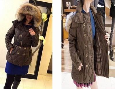 Burberry Brit 3933549 Double Breasted Coat菱格紋雙排金扣羽絨衣綠 UK 8