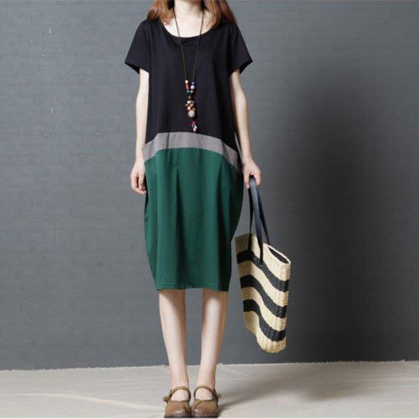 短袖洋裝◎ 女人心語 ◎ 中大尺碼 三分色寬鬆短袖連身裙(二色) 預 CK-N-BC-SK
