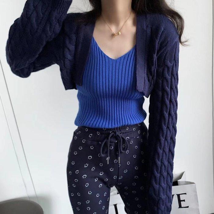 PapaDarlingw 20SS 百搭休閒時尚設計感羊毛背心短款罩衫假兩件 長袖針織衫 上衣 黑色 藍色