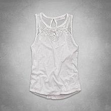 Maple麋鹿小舖 Abercrombie&Fitch * A&F 白色水鑽設計無袖上衣* ( 現貨XS/S號 )
