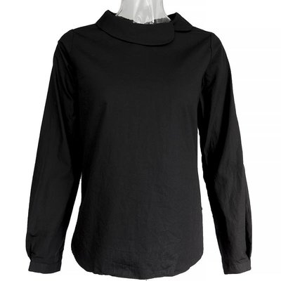日本品牌all of me簡約時尚花苞領長袖黑色襯衫 日本製 質感很好