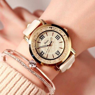 手錶 流動水?女錶韓國時尚韓版潮流女學生皮帶防水石英手錶