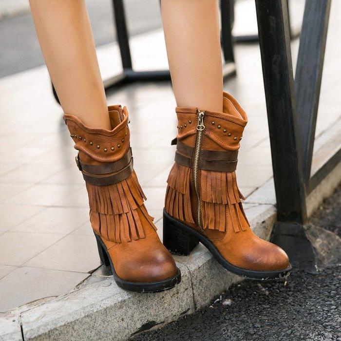 ~皮皮創~原創設計手工鞋。復古擦色做舊流蘇靴子圓頭羊皮短靴中跟踝靴真皮馬丁靴機車靴騎士靴