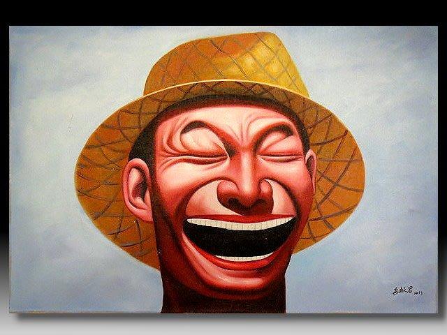 【 金王記拍寶網 】U1241  九O年代當代亞洲藝術家 岳敏君款 手繪油畫一張 ~ 罕見系列作品 稀少 藝術無價~