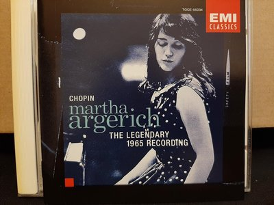 Chopin,Argerich-The Legendary 1965 Recording,阿格麗希1965年演繹蕭邦鋼琴作品傳奇性錄音,早期日本版,如新。