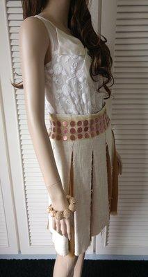歐陸大牌debora SINIBALDI 棉絲拼接亮片珠繡腰飾片裙