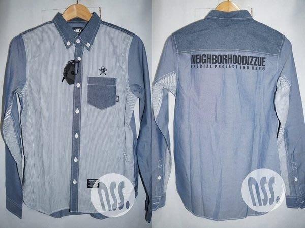 特價【NSS】NEIGHBORHOOD X IZZUE NHIZ NBHD 拼布 條紋 襯衫 黑 藍 S