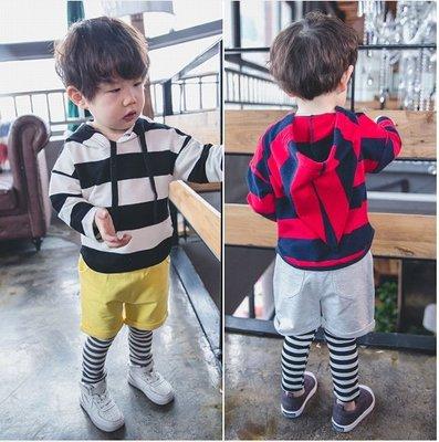 ♥【BS0133】CT-6612 韓版男童裝條紋連帽假兩件套裝 2色 (黑白+黃色 / 紅藍+灰色 現貨) ♥