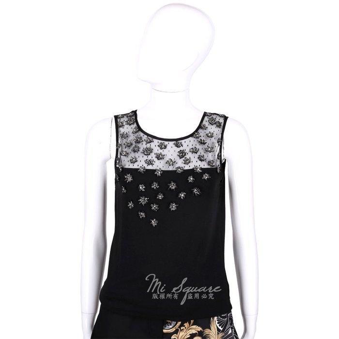 米蘭廣場 CLASS roberto cavalli 黑色拼接蕾絲珠花無袖上衣 1520576-01