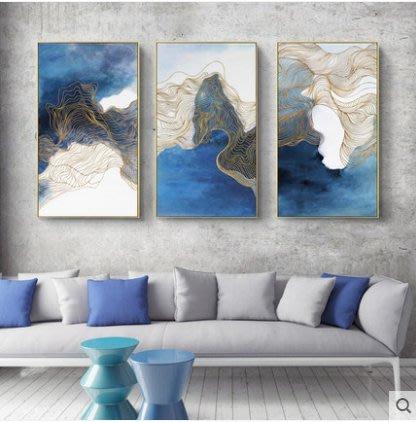『格倫雅』海闊天空 酒店裝飾畫抽象掛畫客廳沙發背景墻三聯畫藍色壁畫意境^21771