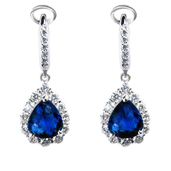 【JHT金宏總珠寶/GIA鑽石專賣】2.53/2.44克拉藍寶鑽石耳環/材質:PT900/附證(JB41-A12)