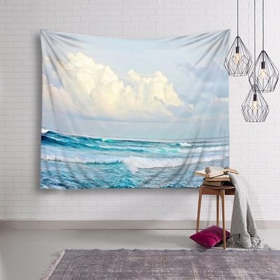 小預算佈置術白雲海浪裝飾掛布壁畫直播背景Decorative Cloth Hanging Cloth Mural