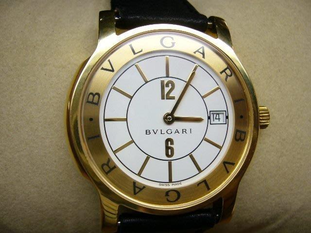 [吉宏精品交流中心]BVLGARI 寶格麗 Solotempo 35mm 18黃K金 皮帶 石英 男錶
