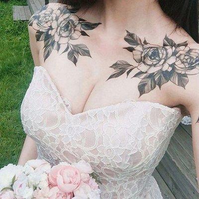 【萌古屋】黑色花朵鎖骨肩膀手臂2張套裝組 - 防水紋身貼紙刺青貼紙 K00