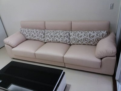 鴻宇傢俱~桑妮一字型獨立筒耐磨亞麻布沙發-290公分~客訂款~坐墊可滑、Q軟好坐-促銷優惠價