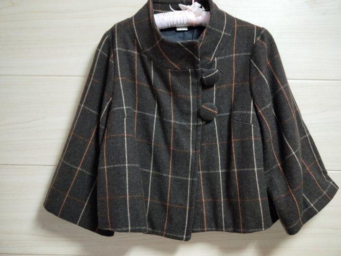 丹丹衣坊--咖啡格紋英倫風毛料外套