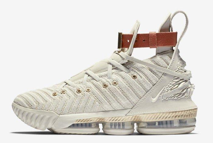 Nike Lebron 16 HFR BQ6583-100米白金黃香檳金LBJ詹姆士皮革手環浮雕獅子頭全氣墊休閒鞋籃球鞋