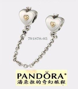 {{潘朵拉的奇幻旅程}}Pandora 14K Gold Heart Crown Safety Chain 791878