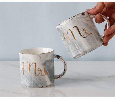 北歐ins風大理石紋金邊陶瓷馬克杯子創意裝飾品擺件抖音拍攝道具(1入)_☆找好物FINDGOODS ☆