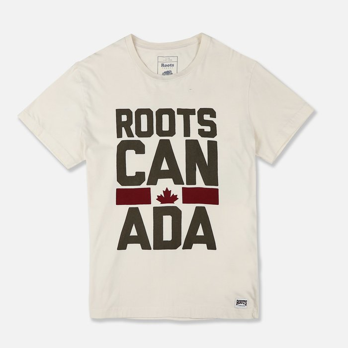 【Roots】男款短袖T恤咖啡大印字酒紅楓葉米 F11160309-02