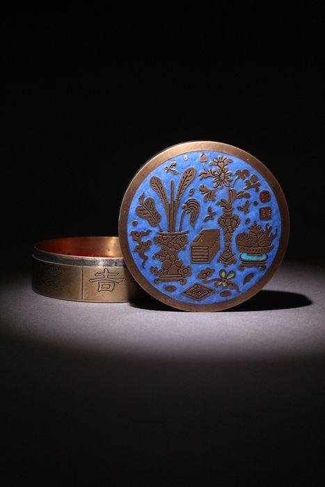 悅年堂 --- 白銅 填琺瑯 八寶博古紋 印泥盒