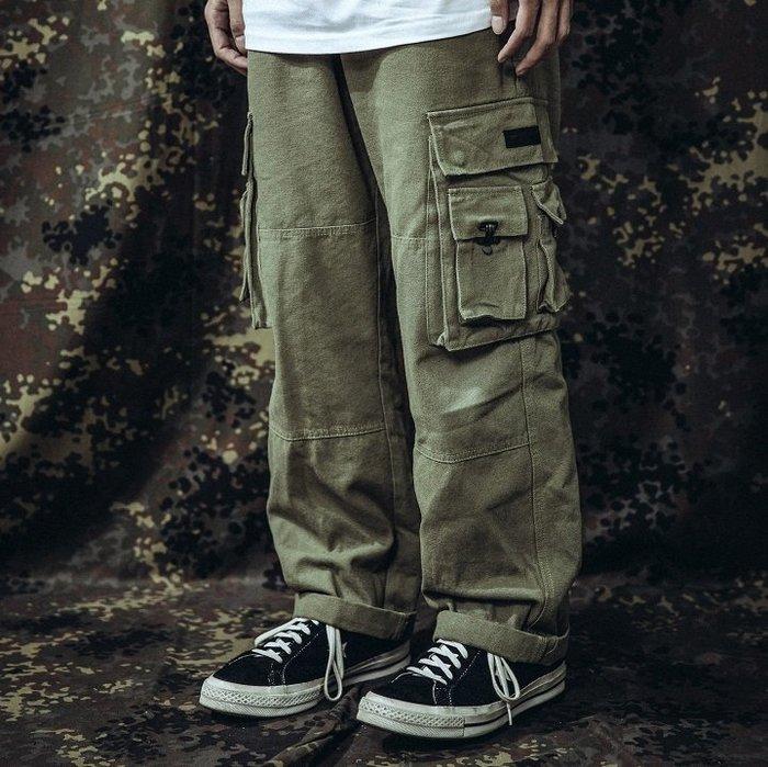 GHK - CargoPenter K18-Veteran 帆布多口袋工作褲 軍綠-軍工裝 軍褲 上寬下窄 寬褲